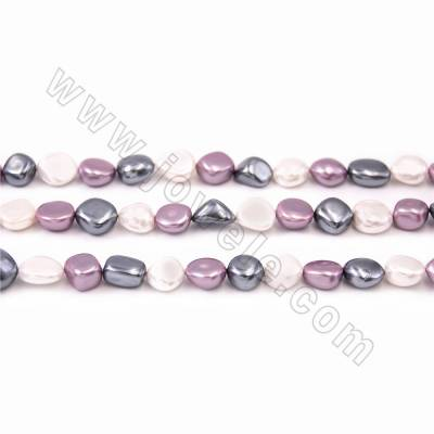 "Irregular Electroplated Natural Shell Pearl Beads Strand, 3 Colors Mixing, Size about 10x15mm, Hole about 1mm, 15~16""/strand"