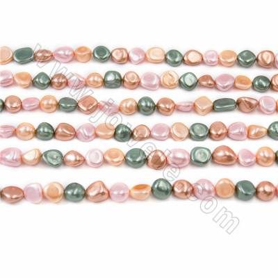 "Irregular Electroplated Natural Shell Pearl Beads Strand, 4 Colors Mixing, Size about 10x15mm, Hole about 1mm, 15~16""/strand"