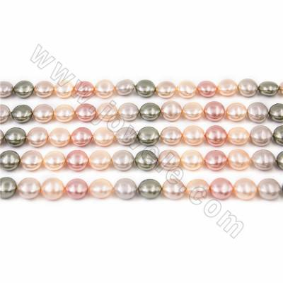 "Electroplate Natural Shell Pearl Beads Strand, 4 Colors Mixing, Coin, Size about 10x15mm, Hole about 1mm, 15~16""/strand"