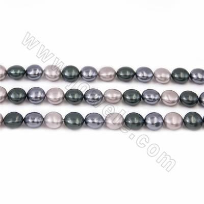"Electroplate Natural Shell Pearl Beads Strand, 3 Colors Mixing, Coin, Size about 10x15mm, Hole about 1mm, 15~16""/strand"