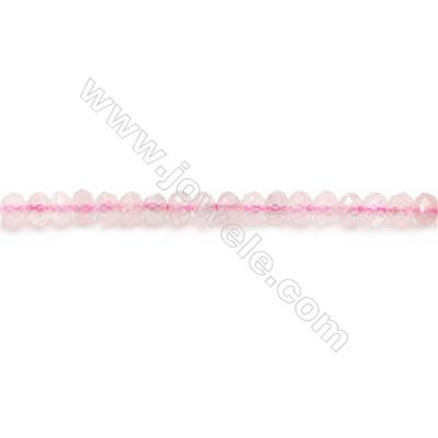 Natural Rose Quartz Beads Strand  Faceted Abacus  Size 3x4mm  hole 0.8mm  about 132 beads/strand 15~16""