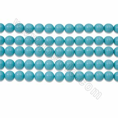 "Round Electroplated Natural Shell Pearl Beads Strand, Blue, Size about 16mm, Hole about 1mm, 15~16""/strand"