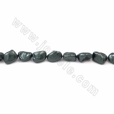 "Irregular Electroplated Natural Shell Pearl Beads Strand, Green, Size about 10x15mm, Hole about 1.5mm, 15~16""/strand"