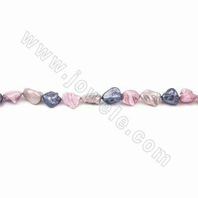 "Irregular Electroplated Natural Shell Pearl Beads Strand, 3 Colors Mixing, Size about 10x15mm, Hole about 1.5mm, 15~16""/strand"