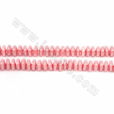 "Electroplated Natural Shell Pearl Beads Strand, Pink, Square, Size about 6x6mm, Hole about 1.5mm, 15~16""/strand"