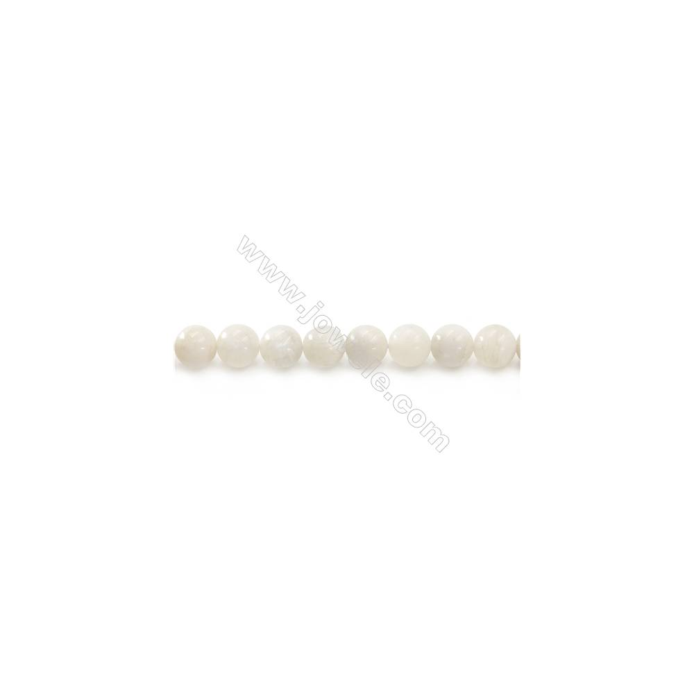 Natural White Moonstone Beads Strand  Round  Diameter 10mm  hole 1mm  about 42 beads/strand 15~16""
