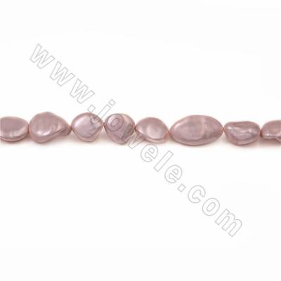"Irregular Electroplated Natural Shell Pearl Beads Strand, Light Pink, Size about 10x15mm, Hole about 1mm, 15~16""/strand"