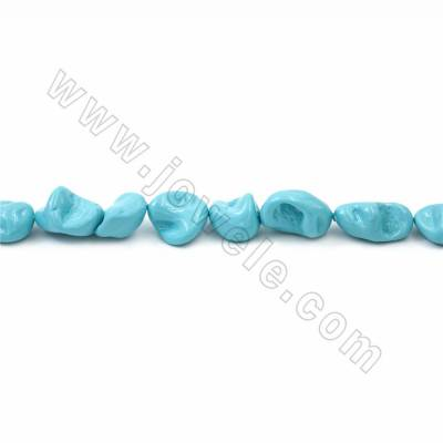 "Irregular Electroplated Natural Shell Pearl Beads Strand, Blue, Size about 10x15mm, Hole about 1mm, 15~16""/strand"