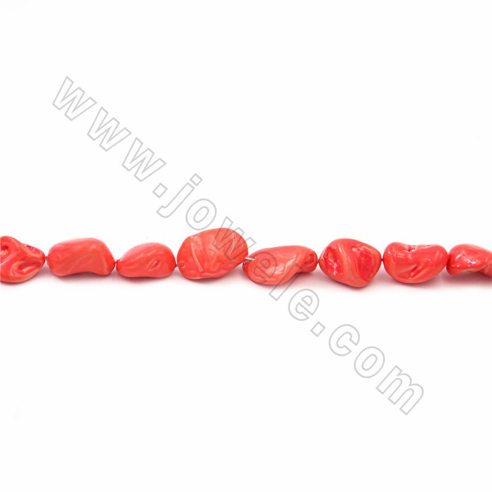 "Irregular Electroplated Natural Shell Pearl Beads Strand, Orange red, Size about 10x15mm, Hole about 1mm, 15~16""/strand"