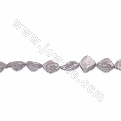 "Irregular Electroplated Natural Shell Pearl Beads Strand, Silver, Size about 10x20mm, Hole about 1mm, 15~16""/strand"
