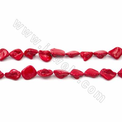 "Irregular Electroplated Natural Shell Pearl Beads Strand, Dark red, Size about 10x20mm, Hole about 1mm, 15~16""/strand"