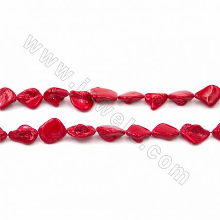 """Irregular Electroplated Natural Shell Pearl Beads Strand, Dark red, Size about 10x20mm, Hole about 1mm, 15~16""""/strand"""