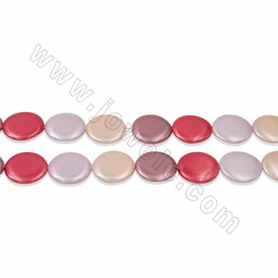 "Electroplate Natural Shell Pearl Beads Strand, Coin, 4 Colors Mixing, Size about 5x25mm, Hole about 1mm, 15~16""/strand"