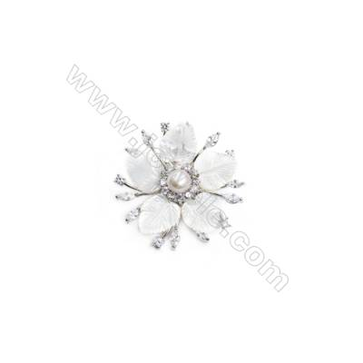 White Flower Mother-of-pearl CZ Brooch x 1Piece Sterling Silver Plated  Size 40x40mm
