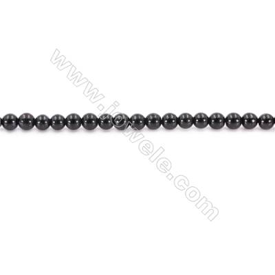 Natural Black Tourmaline Beads Strand  Round  Diameter 4mm  hole 0.8mm  about 99 beads/strand 15~16""