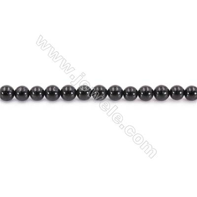 Natural Black Tourmaline Beads Strand  Round  Diameter 6mm  hole 1mm  about 68 beads/strand 15~16""