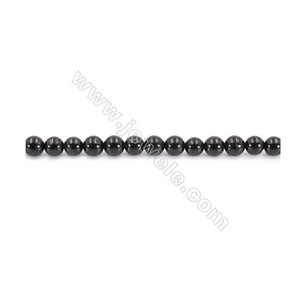 "Natural Black Tourmaline Beads Strand  Round  Diameter 6mm  hole 1mm  about 68 beads/strand 15~16"""