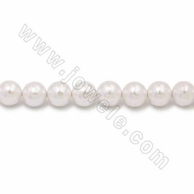 "Electroplate Natural Shell Pearl Beads Strand, Round, White, Size about 16mm, Hole about 1mm, 15~16""/strand"