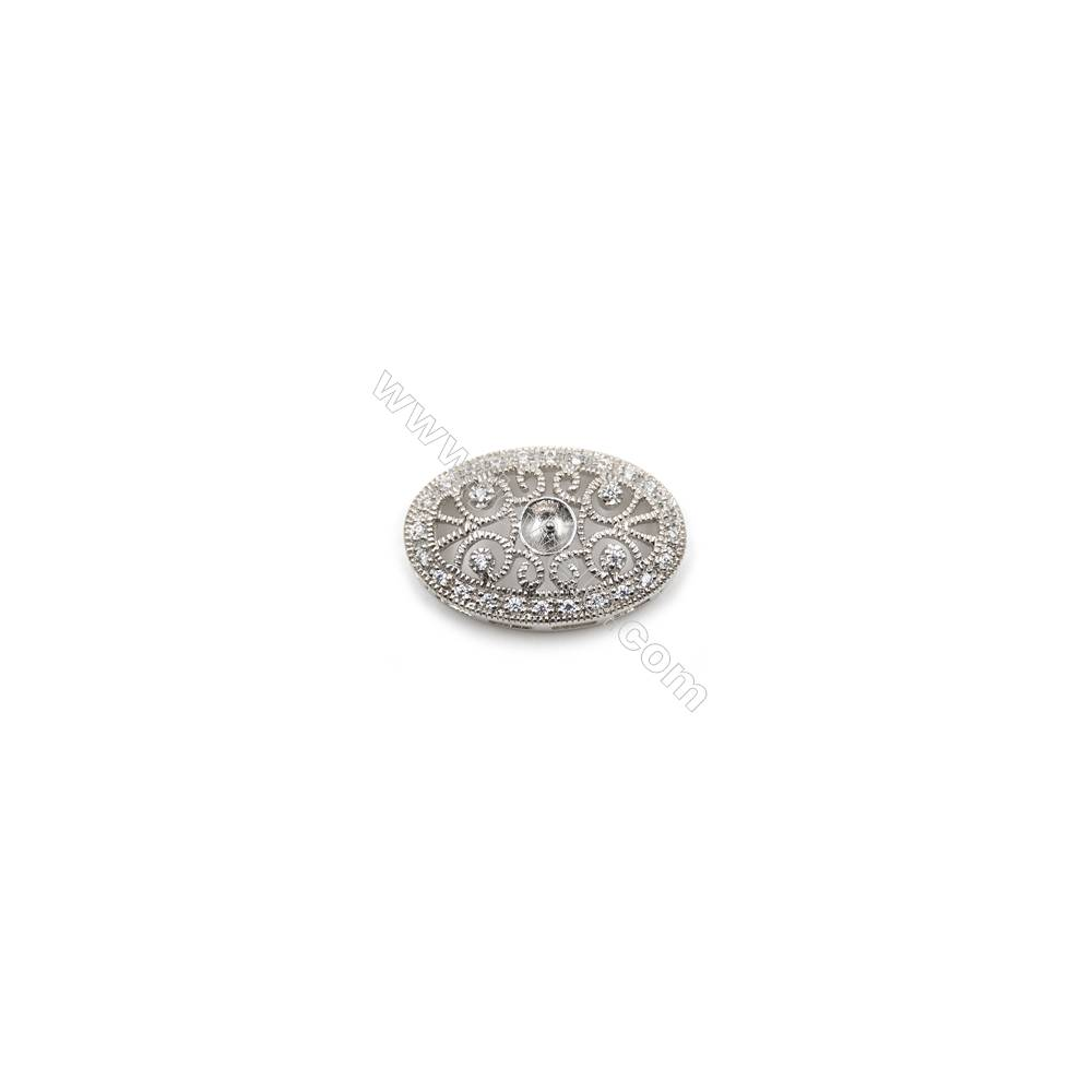 Sterling silver platinum plated zircon pendant, 15x24mm, x 5pcs, tray 5mm, needle 0.7mm