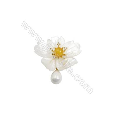 White Flower Mother-of-pearl Shell CZ Brooch x 1Piece  Sterling Silver Plated  Size 34x42mm