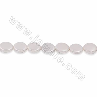 "Electroplate Natural Shell Pearl Beads Strand, Oval, White, Size about 25x30mm, Hole about 1.5mm, 15~16""/strand"