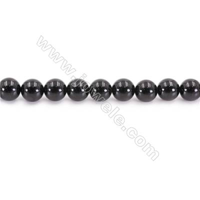 Natural Black Tourmaline Beads Strand  Round  Diameter 8mm  hole 1mm  about 47 beads/strand 15~16""