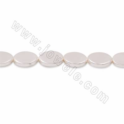 "Electroplate Natural Shell Pearl Beads Strand, Oval, White, Size 10x12mm, Hole 1mm, 15~16""/strand"