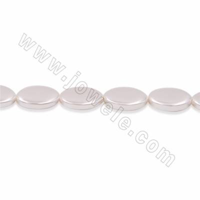 "Electroplate Natural Shell Pearl Beads Strand, Oval, White, Size 10x15mm, Hole 1mm, 15~16""/strand"
