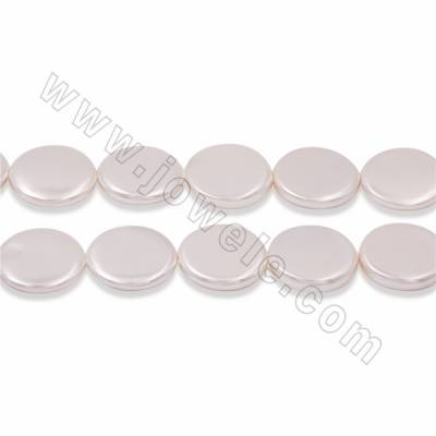 "Electroplate Natural Shell Pearl Beads Strand, Coin, White, Size 20mm, Thick 4mm, Hole 1mm, 15~16""/strand"