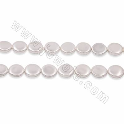 "Electroplate Natural Shell Pearl Beads Strand, Coin, White, Size 12mm, Thick 5mm, Hole 1mm, 15~16""/strand"