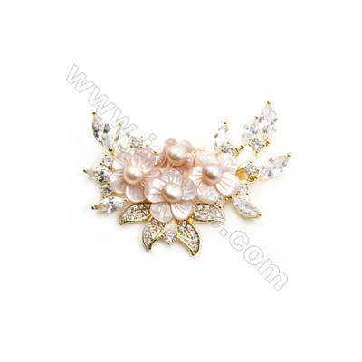 Pink Flower Mother-of-pearl Shell CZ Brooch x 1Piece  Gold Plated  Size 36x55mm