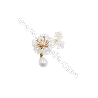 White Flower Mother-of-pearl Shell CZ Brooch x 1Piece  Gold Plated  Size 27x40mm