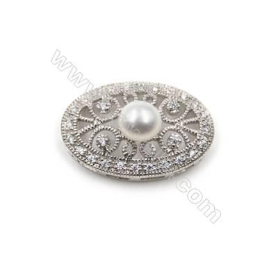 Sterling silver platinum plated zircon pendant -820128 15x24mm x 5pcs disc diameter 5mm small needle diameter 0.7mm