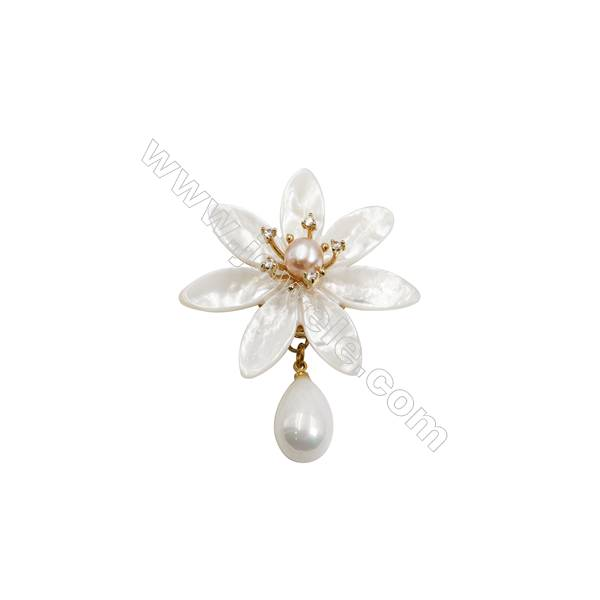 White Flower Mother-of-pearl Shell CZ Brooch x 1Piece  Gold Plated  Size 46x46mm