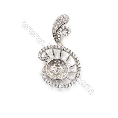 Sterling silver zircon pendant platinum plated, 17x28mm, x 5mm, tray 9mm, pin 0.6mm