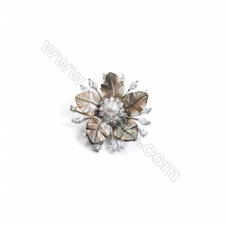 Grey Flower Mother-of-pearl Shell CZ Brooch x 1Piece  Sterling Silver Plated  Size 32x51mm