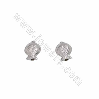 925 Sterling Silver Beads Charms, Small Fish, Size 9x11mm, Hole 0.8mm, 30pcs/pack
