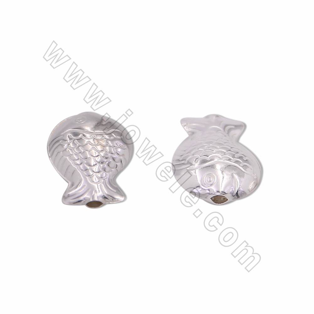 925 Sterling Silver Beads Charms, Small Fish, Size 15x20mm, Hole 2.8mm, 15pcs/pack