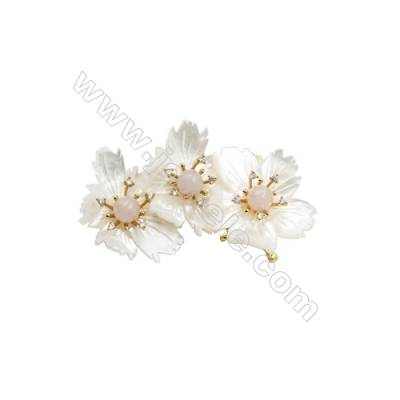 White Flower Mother-of-pearl Shell CZ Brooch x 1Piece  Gold Plated  Size 42x71mm