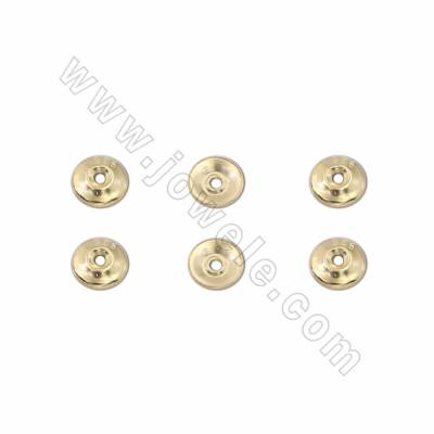 925 Sterling Silver Plated Gold Bead Caps, Diameter 5mm, Hole 1mm, 200pcs/pack