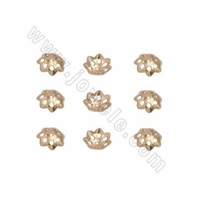 925 Sterling Silver Plated Gold Bead Caps, Flower, Size 6.5mm, Hole 0.8mm, 30pcs/pack