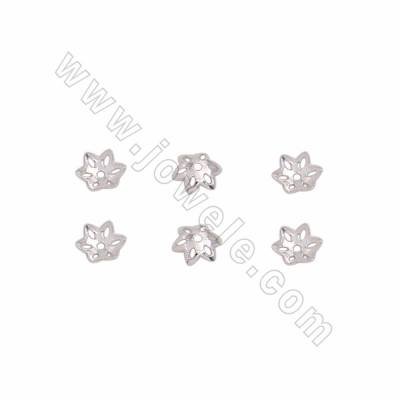 925 Sterling Silver Bead Caps, Flower, Size 5mm, Hole 0.7mm, 500pcs/pack