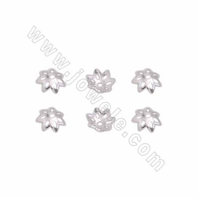 925 Sterling Silver Bead Caps, Flower, Size 6mm, Hole 0.8mm, 500pcs/pack