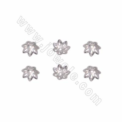 925 Sterling Silver Plated White Gold Bead Caps, Flower, Size 6mm, Hole 0.8mm, 300pcs/pack