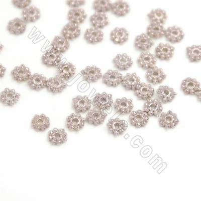 925 Sterling Silver Spacer Beads, Flower, Size 4mm, Hole 0.8mm, 150pcs/pack