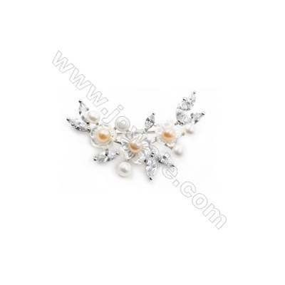 White Flower Mother-of-pearl Shell CZ Brooch x 1Piece  Sterling Silver Plated  Size 32x51mm
