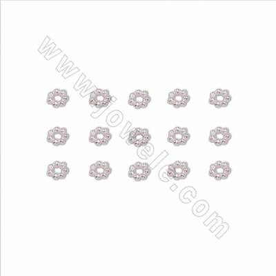 925 Sterling Silver Spacer Beads, Flower, Size 4mm, Hole 1.5mm, 80pcs/pack