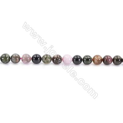 Natural Tourmaline Beads Strand  Round  Diameter 6mm  hole 1mm  about 63 beads/strand 15~16""
