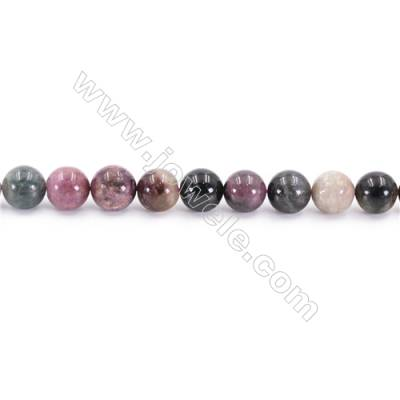 Natural Tourmaline Beads Strand  Round  Diameter 8mm  hole 1mm  about 43 beads/strand 15~16""