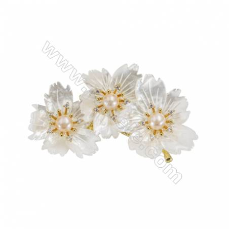 White Flower Mother-of-pearl Shell CZ Brooch x 1Piece  Gold Plated  Size 42x73mm